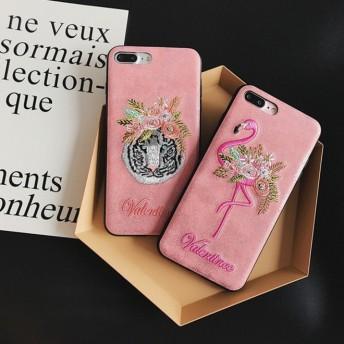 フラミンゴ トラ 刺繍柄 ピンク iPhone ケース 送料無料 iPhone6/6s iPhone6plus/6splus iPhone7/8 iPhone7plus/8plus iPhoneX
