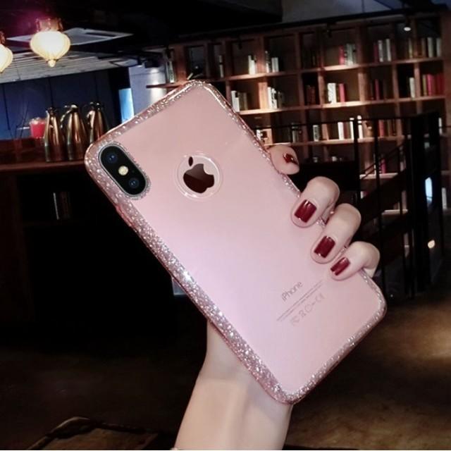 ラメふち クリア グリッター iPhoneケース 送料無料 iPhone6/6s iPhone6plus/6splus iPhone7/8 iPhone7plus/8plus iPhoneX