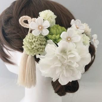 つまみ細工小花 振袖 白無垢 髪飾り グリーン*ホワイト
