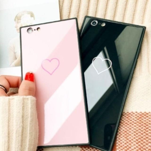 ミラー スクエア シンプル ハート iPhoneケース 送料無料 iPhone6/6s iPhone6plus/6splus iPhone7/8 iPhone7plus/8plus iPhoneX