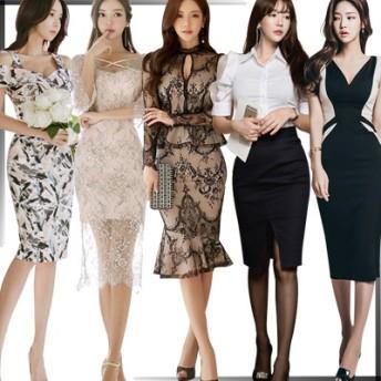 高品質 韓国ファッション OL、正式な場合、礼装ドレス セクシーなワンピース、一字肩 二点セット、側開、深いVネック やせて見える、ハイウエスト
