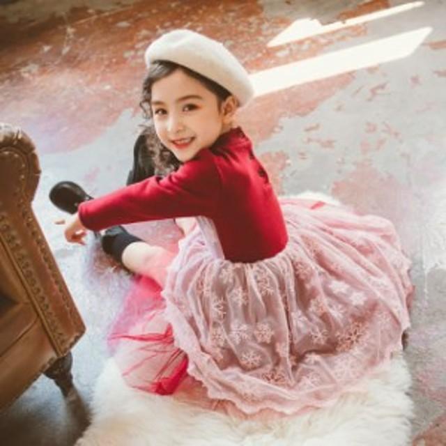76ead35878295 秋冬 女の子 長袖 赤い ワンピース 雪の花 刺繍 ワンピース 裹起毛 ジュニア服 子供服