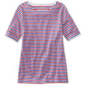 エル・エル・ビーン・ティ、ひじ丈袖 カフ・ボートネック ストライプ/L.L.Bean Tee Cuffed Elbow-Sleeve Boatneck Stripe