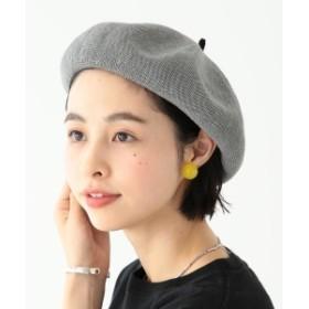 BEAMS BOY / リネン 配色ベレー 19SS レディース ハンチング・ベレー帽 GREY ONE SIZE