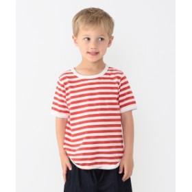 こども ビームス / 1cmボーダー 半袖 Tシャツ (95~150cm) キッズ Tシャツ レッド×ホワイト L(125-135)