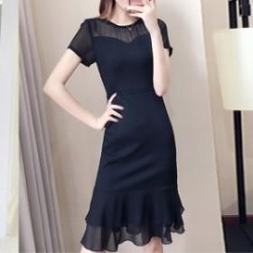 ワンピース ドレス ひざ丈 半袖 袖あり シフォン シースルー 黒 透け感 シンプル mme5069