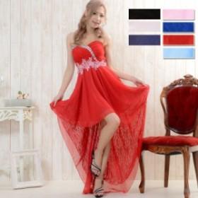 キャバドレス ワンピース パーティードレス フラワー刺繍ビジュー装飾シフォン&レーステールカットロングドレス【0530】