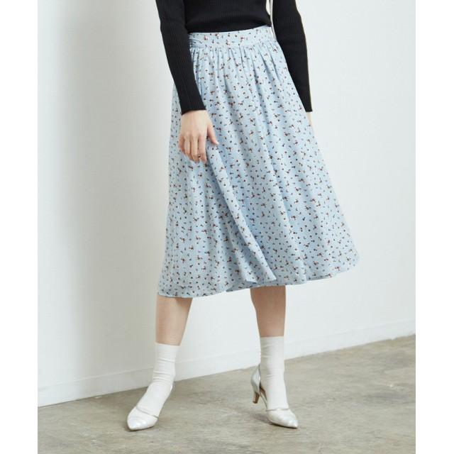 【50%OFF】 ロペピクニック 花柄ギャザースカート レディース サックス(48) 38 【ROPE' PICNIC】 【セール開催中】