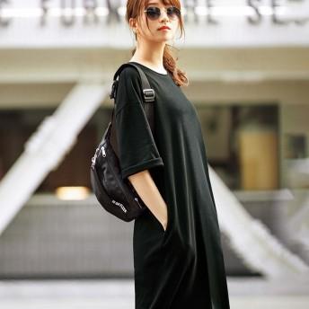 RyuRyu ポケット付ビッグシルエットTシャツワンピース 黒/ブラック L~LL レディースワンピース オールインワン 春 夏 レディースファッション アパレル 通販 大きいサイズ コーデ 安い おしゃれ お洒落 30代 40代 50代 女性