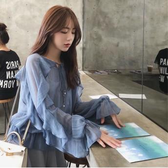 大人気 ゆったりとしたシルエットが可愛い♪シフォンブラウス フレアスリーブ 韓国ファッション