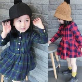 09616bcd4a618 韓国子供服 女の子 ワンピースドレス チュールワンピース 長袖 チュール ワンピース ハイウエスト チェック ジュニア dress