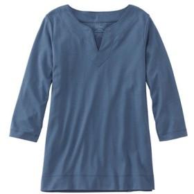 ピマ・コットン・ティ、7分丈袖 スプリットネック チュニック/Pima Cotton Tee Three-Quarter-Sleeve Splitneck Tunic
