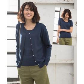 チェック柄ツインセーター(パール調ボタン付ニットカーディガン+チェック柄編半袖セーター) (ニット・セーター)(レディース),Knitting