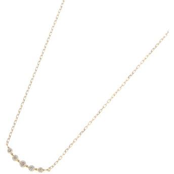 ココシュニック COCOSHNIK K18ダイヤモンド グラデーション5石 ネックレス (イエローゴールド)