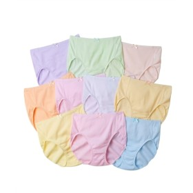 綿100%ゴムが肌側にあたらないカラーリブ深ばきショーツ10枚組 スタンダードショーツ,Panties