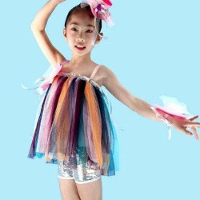 1e3467ab22df1 2点送料無料 女の子 ワンピースドレス 子供 演出服 キッズ ダンス衣装 学園祭文化