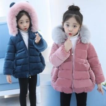 子供服 女の子 無地 中綿コート フード付き ジャケット キッズコート 冬着 子供コート キッズ服 女の子服 アウター 中綿 ロングコート