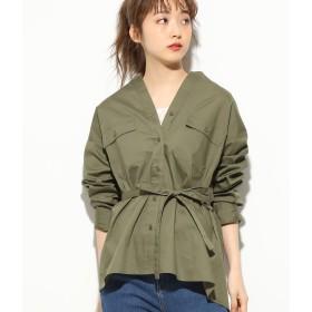 ブラウス - ViS パッチポケット付きオーバーサイズシャツ