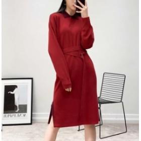 レディース 赤い ニット ワンピース 無地 長袖 ロング丈 ワンピース ベルト付き 秋冬物 着やせ 簡単に シンプル 伸縮性 レッド ニット