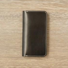 牛革 iPhone XS Max カバー ヌメ革 レザーケース 手帳型 ブラックカラー
