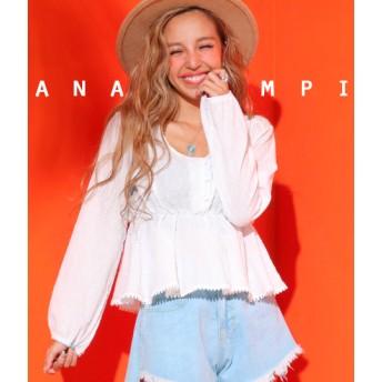 【セール開催中】ANAP(アナップ)ウエストギャザーコットントップス