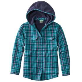 ガールズ・フリース・ラインド・フランネル・シャツ、フーディ プラッド/Girls' Fleece-Lined Flannel Shirt Hooded Plaid