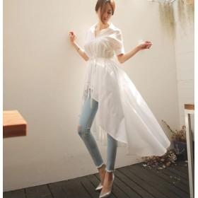 韓国ファッションシャツワンピース OL通勤ワンピースマキシロングワンピース 半袖・ウエストリボン締める調節でき・大きいサイズ展開シャツロング