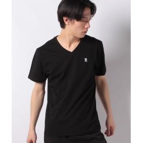 【61%OFF】 ジョルダーノ [GIORDANO]ライオン刺繍VネックTEE メンズ ブラック L 【GIORDANO】 【セール開催中】