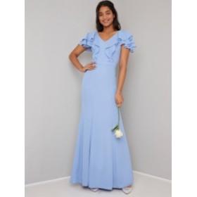 CHI CHI KERRY DRESS チチロンドン ブルー ラッフル ワンピース