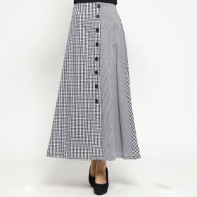 スタイルブロック STYLEBLOCK 先染めギンガムチェックフロント釦スカート (ブラック)