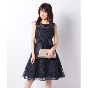 Eimy Pearl by POWDER SUGAR 総刺繍オーガンジーリボン付ドレス