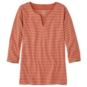 ピマ・コットン・ティ、7分丈袖 スプリットネック チュニック ストライプ/Pima Cotton Tunic Three-Quarter-Sleeve Splitneck Stripe