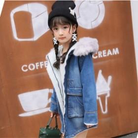 韓国子供服 デニムコート 裹ボア 女の子 キッズ ロングデニムコート 子供用 トップス 冬服 ジャケット 女の子 子ども 防寒 コート