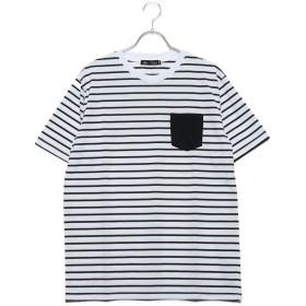 スタイルブロック STYLEBLOCK 消臭加工デオドラント0.5cmボーダーポケット付半袖Tシャツカットソー (ホワイト×ブラック)