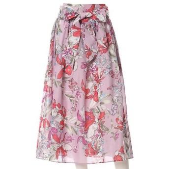 INED L / イネド(エルサイズ) 《大きいサイズ》リボンベルト付きフラワープリントスカート