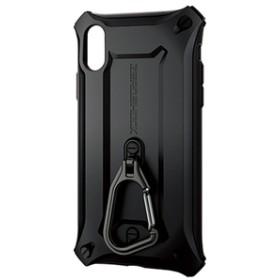 エレコムiPhone XR用ZEROSHOCK/カラビナブラックPM-A18CZEROKBK