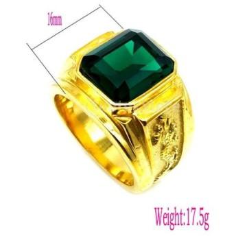 金 指輪 リング ラインストーン 緑 ファッション 全2サイズ - us9