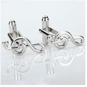 メンズ 銅製 ビジネス スーツシャツカフス カフスボタン 結婚式 音符形 シルバー