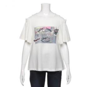 ブルークロス ガールズ/肩開きグラフィックTシャツ