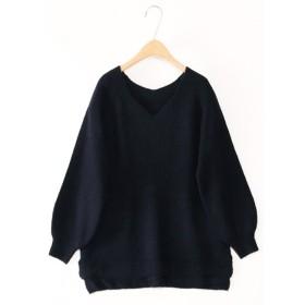 ニット・セーター - Select Shop Candy Vネックニットチュニック ワンピース レディース M L ニット・セーター
