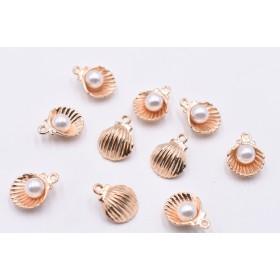 送料無料20個ゴールド チャームパーツ 貝殻とパール 12×15mmJ2626-2