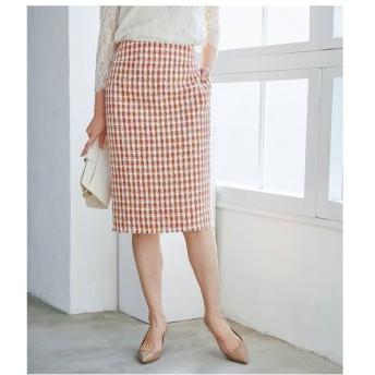 ROPE' / ロペ 【ドラマ着用】【セットアップ対応】チェックツイードフリンジスカート