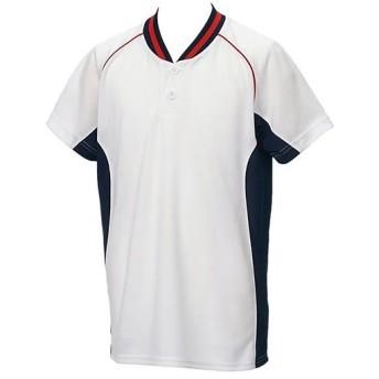 アシックス(asics) ジュニア 野球ウェア ベースボールシャツ ホワイト×ネイビー BAD20J 0150 男の子 女の子 半袖 Tシャツ キッズ 部活 少年野球