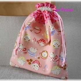 入園入学体操服袋(体操服入れ)巾着L☆ピンクくまとパンダのカプチーノ柄