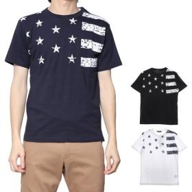 Tシャツ - Style Block MEN Tシャツ カットソー 半袖 クルーネック 丸首 星条旗 ユニオンジャック 綿 コットン100% トップス レディース ホワイトネイビー ブラック 春先行