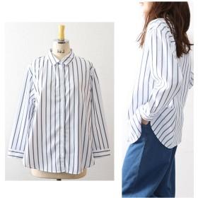 シャツ - OWNCODE 2019 新作 ストライプ柄BIGシャツ トップス 春 夏 ストライプ オフィス きれいめ キレカジ ブロードベーシックowncode (u2)