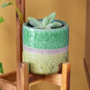 植木鉢 鉢カバー 直径12cm 陶器 ミニポット テラコッタ ポット ガーデン雑貨 インテリア グリーン ツートーン おしゃれ 貫入加工