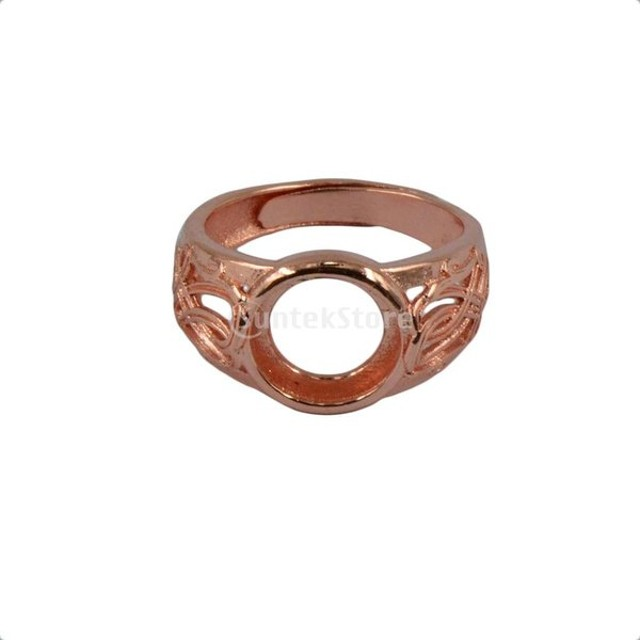 簡単 リングブランク 指輪 ローズゴールド DIY素材 ラウンドベゼル 調整可能  全2サイズ - 10mm