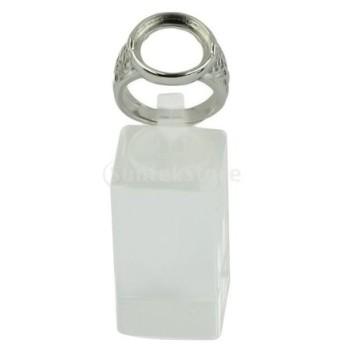 真ちゅう製 リング 丸い ベゼル 調節可能 シルバー 全2種類 - 14ミリメートル