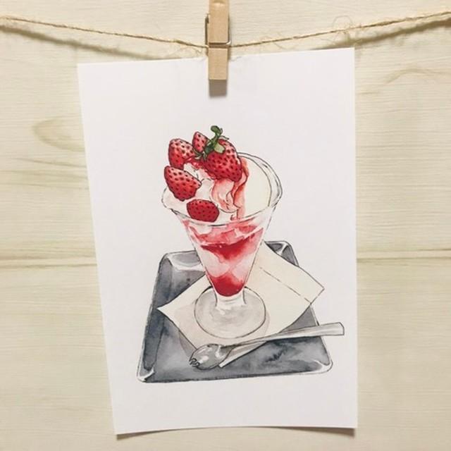 選べるポストカード5枚セット/No.7いちごパフェ